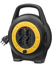 Vimar 0P32714 Avvolgicavo 10 metri, con 4 prese universali a standard italiano Sicury, spina 16A (grande) e disgiuntore termico di protezione in caso di sovraccarico