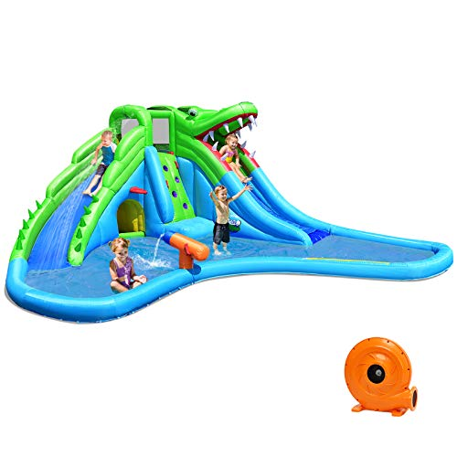 Costzon Inflatable Water Slide, Giant 7 in 1 Crocodile Water Park w/Double Slides, Climb Wall, Large Splashing Pool, Basketball Rim, Water Cannon& Tunnel, Bounce House for Kids (with 780W Air Blower)