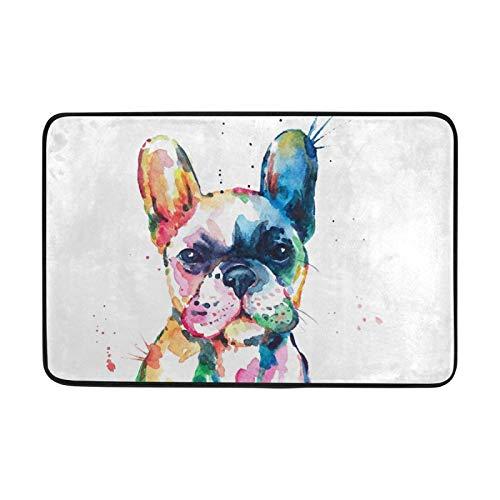 23.6x15.7 inch Floor Mat Watercolor French Bulldog Animal Area Rugs Doormats Carpet for Living Room Home Bedroom Decorative Non-Slip