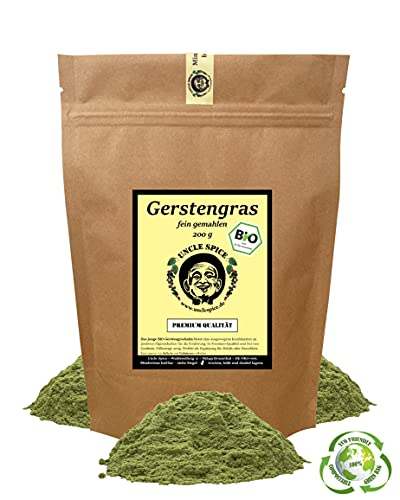 Uncle Spice BIO Gerstengras Pulver - 200g BIO Gerstengraspulver gemahlen, EINFÜHRUNGSPREIS, Superfood schonend hergestellt, vegan aus ökologischem Anbau DE-ÖKO-005, Gerstengras nachhaltig verpackt