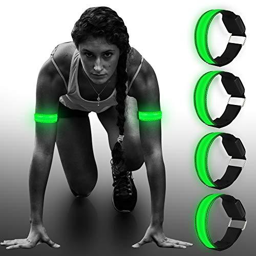 4 Pieza Pulsera LED, LED Banda Reflectante Reflector para Correr Banda Reflectante Brazalete LED Running Banda Reflectante,para niños, para Correr,Ciclismo, Senderismo, Correr, Deportes al Aire Libre
