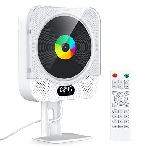 KOVCDVI CD Player mit Bluetooth Radio mit CD Player CD-Player für Wandmontage mit Lautsprecher FM-Radio USB-Wiedergabe TF-Kartenwiedergabe AUX-Wiedergabe LCD-Bildschirm Fernbedienung Staubschutzhülle