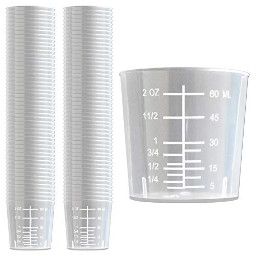100 Pack - RE-GEN 60ml Graduated Clear Measuring Cups Pots Container Beaker Tubs - Ideal for Medicine, Kitchen Cooking, Catering, Medical Lab, Home