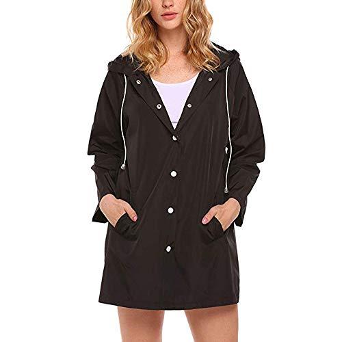 KINGOLDON Raincoat Womens Lightweight Hooded Button Waterproof Active Outdoor Jacket Black