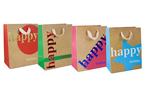 Emartbuy Set di 4 Lusso Sacchetto Regalo Carta Laminata Forte Opaco Colori Misti 18 x 23 x 10 cm - Buon Compleanno