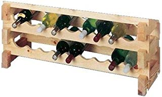 OKSLO Country pine series stackable 18-bottle scallop storage wine rack set