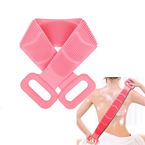 new body scrubbers Dealswin Silicone Body Scrubber:2020 New Version Back Scrubber for Shower Exfoliating Lengthen Silicone Bath Body Brush   Easy to Clean Lathers Well Eco Friendly Comfortable Body Scrubber(Pink)