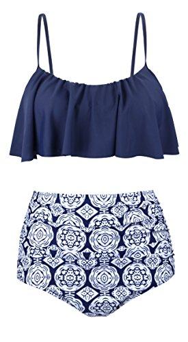 Aixy Damen Vintage Niedlich Ruffles Strap Bademode Crop Top Flounce Hohe Taille Bikini Set Badeanzug, , Navy - EU34-36=Tag Size M