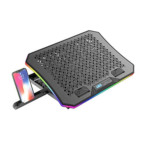 """Base para Notebook C3Tech NBC-600BK até 17"""" Gaming - Refrigerada com 6 ventoinhas, Display LCD 2USB RGB, para notebook de 10-17"""", Ângulo de ajuste: 6,5-50graus"""