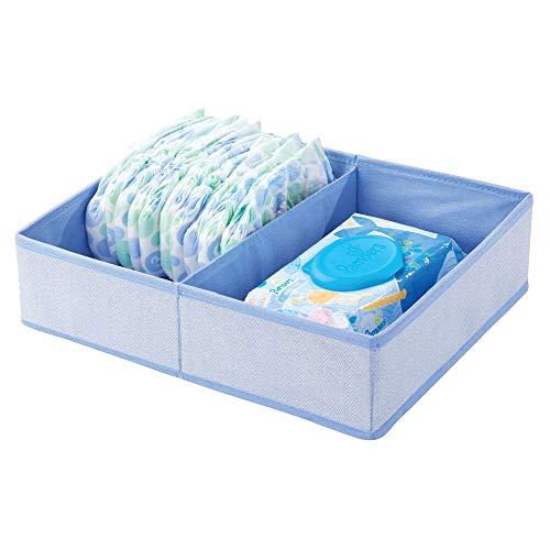 mDesign Organizer per fasciatoio – Grande scatola portaoggetti in tessuto per pannolini, salviette umidificate ecc. – Ideale contenitore giocattoli con 2 scomparti – blu