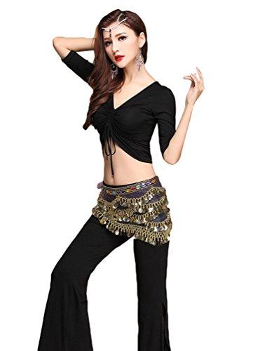 YiJee Damen Tanzkleidung Bauchtanz -Kostüm-Set Tops & Split Wide-leg Pants Schwarz XL