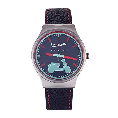 Herren Vespa Uhren Analoguhr mit blauem Zifferblatt, Quarzwerk und 100% blauem Lederarmband Modell VA-IR04-SS-14BL-CP