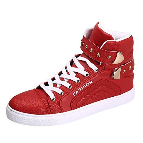 LuckyGirls Chaussures de Conseil décontractées de Haute-Haute-Haute-Haute de Mode des Hommes Chaussures Courtes de Bottes en Cuir des Espadrilles de Sport