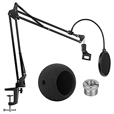 InnoGear Adjustable Microphone Stand with Mic Pop Filter, Universal Mic Clip, 3/8'' to 5/8'' Screw Adapter, Microphone Windscreen for Blue Snowball and Blue Snowball iCE