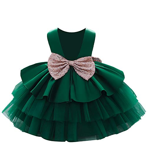 AVAZU 6M-5T Toddler Baby Girls Backless Big Sequins Bowknot Tutu Gown Formal Wedding Party Easter Ball Gown Christmas Dress Dark Green 80