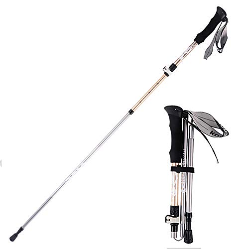 LEIAZ Poteaux Trekking Réglables Antishock Lightweight - Stick de Marche Ultraléger avec Poignées et Courroies de Mousse Confortables pour Hachage, Homme et Femme,Gold,Long