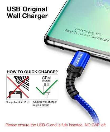 JSAUX USB C Kabel [2 Stück 2M ]USB C 3.0 Nylon USB Typ C Ladekabel 3A Schnelle Aufladung kompatibel für Samsung Galaxy S10 S9 S8 Plus,Note 10 9 8,A3 A5 A7 2017,A8 2018, Huawei, für Typ C Gerät (Blau)