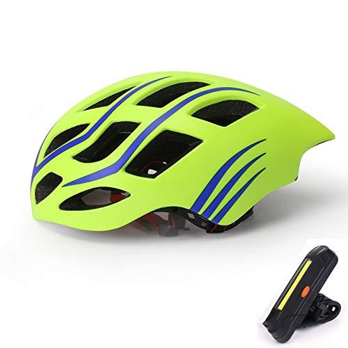 QZH Casco De Bicicletas para Bicicletas, Cascos De Bicicleta De Montaña con Bicicletas USB Taillight Forma De Gota De Agua Adulto Bicicleta Montar Sombrero De Seguridad 22-24 En,Verde