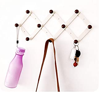 Candyqueen 1Pcs Adhesive Hanging Wall ABS (Plastic) Peg Hooks Wall Rack Hanger for Coat/Keys/Hats/Purse/Bag/Coffee Mugs Home Decor