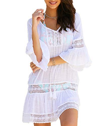 L-Peach Damen Spitze V-Ausschnitt Tunika Sommer Pareo Bikini Cover Up Strandkleid Sommerkleid One Size