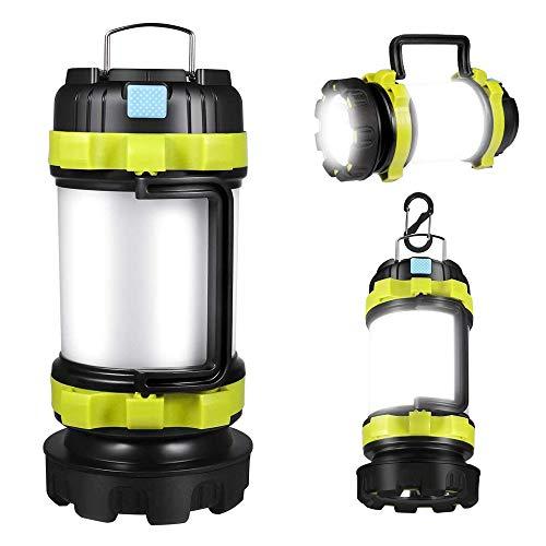 FONDDI Wiederaufladbare LED-Camping-Laterne, Elektrische Tragbare Laterne, Taschenlampe, 6 Modi, 3600 mAh Powerbank, IPX4 wasserdicht, perfekt für Hurricane, USB-Kabel im Lieferumfang enthalten