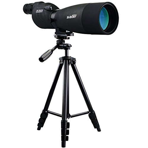 SVBONY SV17 Spotting Scope Straight with Tripod Telescope for Bird Watching Hunting Wildlife Viewing BAK4 Prism 4-Section Tripod