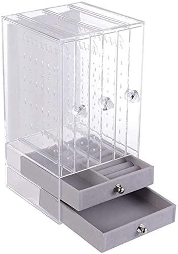 BERTY·PUYI Caja De Almacenamiento De Joyas De Acrílico Transparente, Colgante De Exhibición De Pendientes, Soporte Organizador De Joyas con Cajón para Pulsera, Collar, Pulsera, Anillos