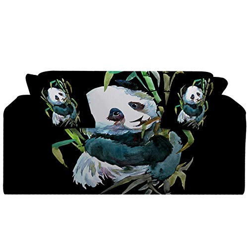 Fundas Decorativas para Sofás,Simplicidad Moderna Elastica Funda de Sofa 1/2/3/4 Plazas Antideslizante Funda Protectora para Sofá(Panda de bambú Estampado Negro