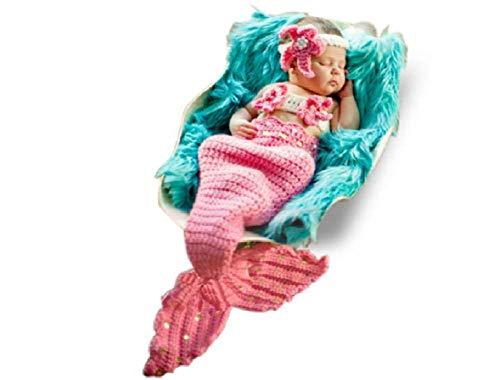 Disfraz de sirena, recién nacido para niña o niño de ganchillo para fotografía de fotografía de accesorios (rosa claro)