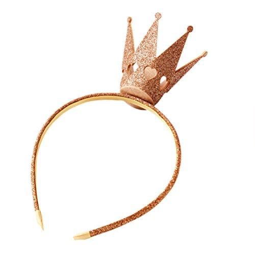 Yeahibaby Precioso Diadema Corona Hair Hoop Niños Hairband Tocado Accesorios para el Cabello para la Decoración del Partido (Oro)