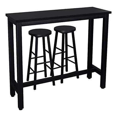 WOLTU 1 X Table de Bar + 2 X tabourets de Bar en MDF et métal,Ensemble de Meuble Industriel de Salle à Manger 120x40x100cm Noir BT17sz+BH130sz-2