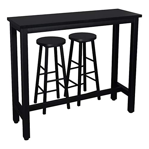 WOLTU Kitchen Bar Table Counter and 2 Stools Set Breakfast Dining Table Black Coffee Table Metal Legs with Footrest for Kitchen Dining Room Conservatory Patio