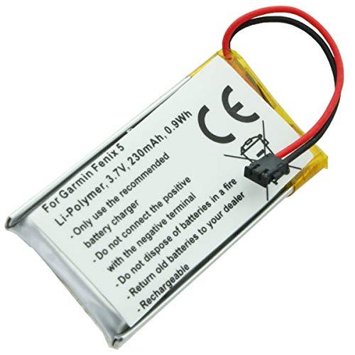 Batería para Garmin Fenix 5 (polímero de Litio, 3,7 V, 230 mAh, 0,9 WH)