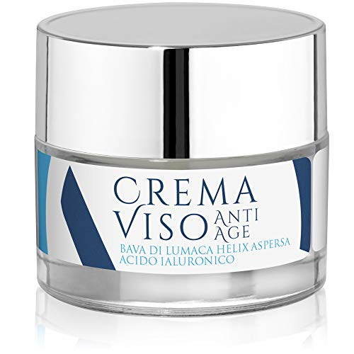 Crema Viso Antirughe BIOLOGICA Bava di Lumaca Acido Ialuronico Puro Crema Antiage Notte Giorno Crema Viso Idratante Donna Uomo Viso Collo Décolleté Acne Macchie Pelle Cicatrici 50 ML Made in Italy
