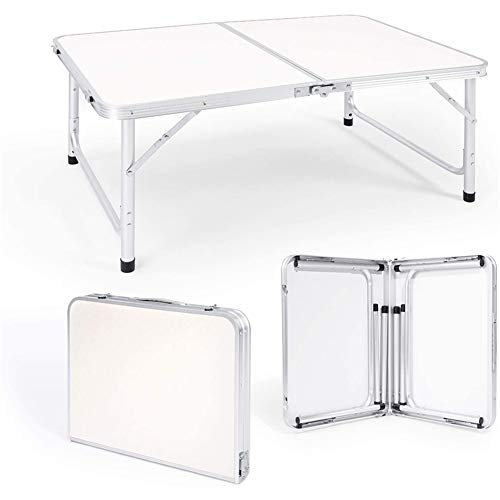 Rund 1.2 M Table PLIANTE EN Conjuntos DE Aluminio RÉTANDO Lote DE LA Cocina DE JARDIAL RÉGITABLE Pita-NIQUE Table DE Camping ET Tabouret PULT INTIRIEUR OU Extérieur Actividades(Color:Blanco)