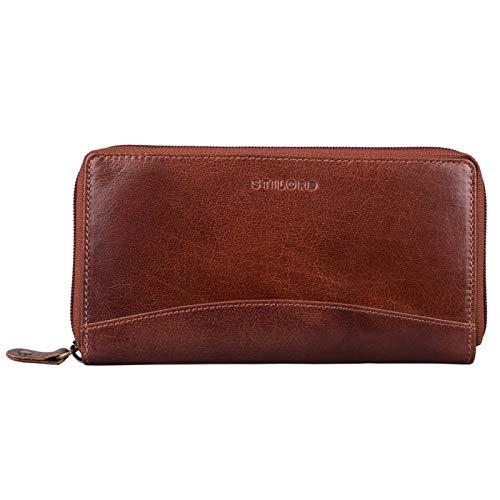 STILORD \'Saskia\' Portemonnaie Damen Leder groß mit RFID Schutz viele Fächer Vintage Brieftasche im Querformat Geldbörse für EC-Karten Kleingeld Ausweis, Farbe:Mandel - braun