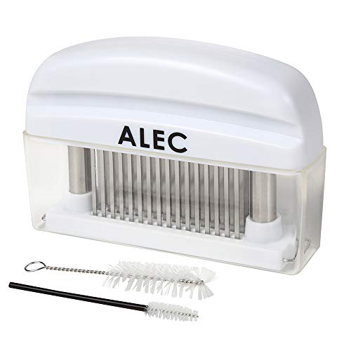 ALEC ミートテンダーライザー 肉筋切り器 [ステンレス製 ホワイト] 洗浄ブラシ 大小2本付き