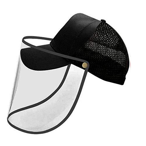 VM Tech Ltd Unisex Mütze mit Kunststoff-Gesichtsabdeckung/Baseballkappe mit Gesichtsschutz, Anti-Saliva-Augenschutz, für Männer und Frauen, Outdoor-Sport, Wandern, Radfahren, Angeln Gr. M, Schwarz