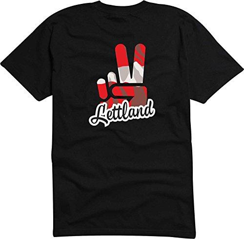 Black Dragon - T-Shirt Herren - JDM/Die Cut - schwarz - Flagge/Fahne - Lettland - Victory - Sieg - L - Fussball Sport Boxen Fight