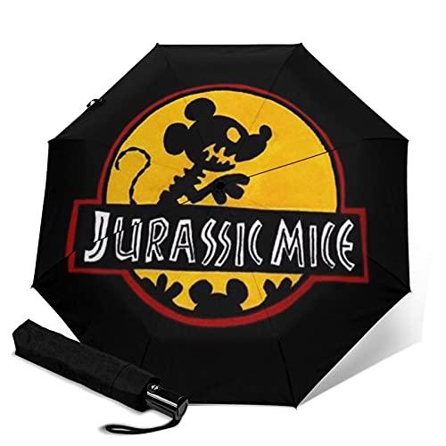 Jurassic Park Paraguas automático de tres plegables, ligero y pequeño, doble propósito para lluvia y sol, sol, protector solar y protección UV