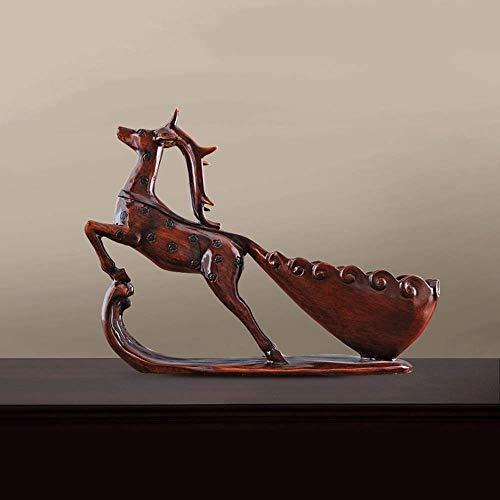 CAIJINJIN estante del vino Ciervo rojo estante del vino del refrigerador de vino Decoración del estreno de regalo europeo y americano de Inicio Casado resina artesanal hecho a mano animal Adornos deli