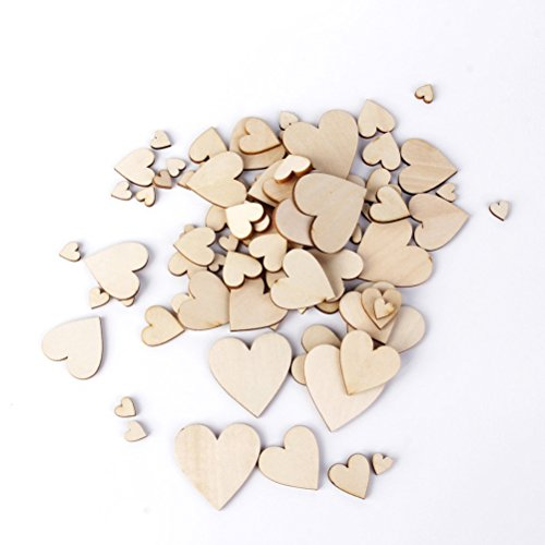 LEORX Leeres Herz aus Holz Verzierungen für Handwerk - 100pcs