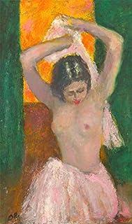 Ronald Olley (b.1923) - 1999 Oil, nudo femminile in una gonna rosa