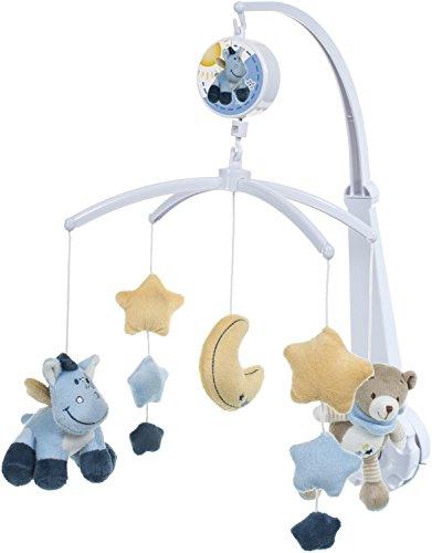 BIECO Musik Mobile Baby, Design: Bär Esel | Ø 31 cm Höhe 60 cm | Baby Einschlafhilfe, Spieluhr Baby | Babybett Spielzeug | Mobile Baby Musik | Baby Toys 0-6 Months | Melodie: Guten Abend Gute Nacht