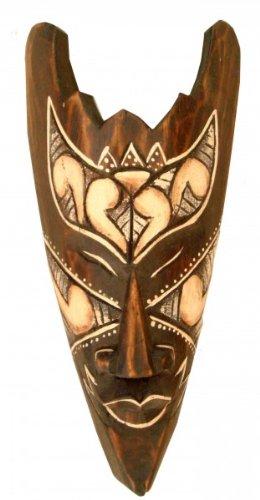 Kunsthandwerk Asien Maske bemalt 20 cm, Holz-Maske aus Bali, Wandmaske