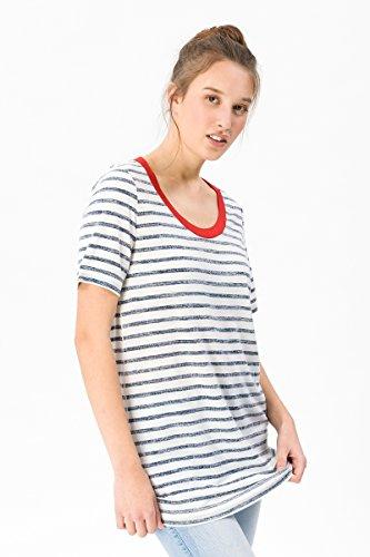 super. Natural W Oversize Thé Printed Femme en Laine mérinos T-Shirt M Fresh White/Fine Stripe Print VAR1