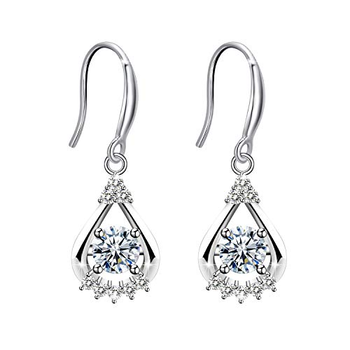 Amilril Drop Earrings, 925 Sterling Silver Cubic Zirconia Fine Jewellery Elegant Gift Box