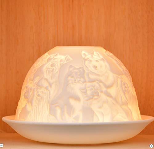Nordic Light Photophore et Assiette pour Bougie Chauffe-Plat, Motif Chien, Table de Salle à Manger, Accessoires de décoration d'intérieur, en Porcelaine, Taille Unique, Blanc