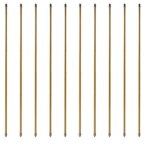 Windhager Bambusoptik-Set, Stahl-Rankstab, Pflanzenstütze, Rankhilfe, Pflanzstäbe, Tomatenstäbe, Braun, 10 Stück, 120 cm, 89134