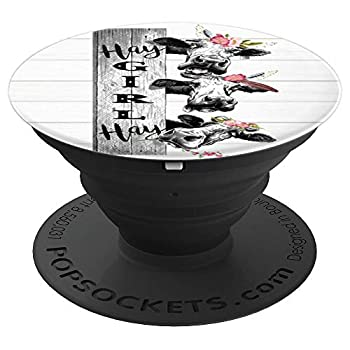 Hay Girl Crazy Heifer Cow Farm Life On Shiplap PopSockets Grip and Stand for Phones and Tablets